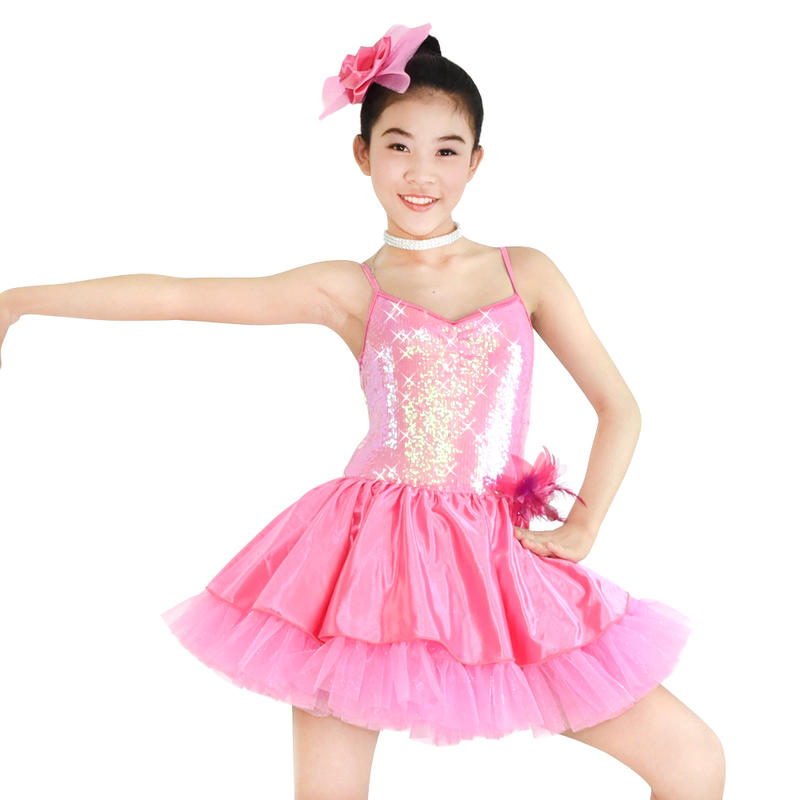 MiDee Girl Sling Sequin Ballet Lycra Dance Costumes Pink Dance Dress Fashion Show