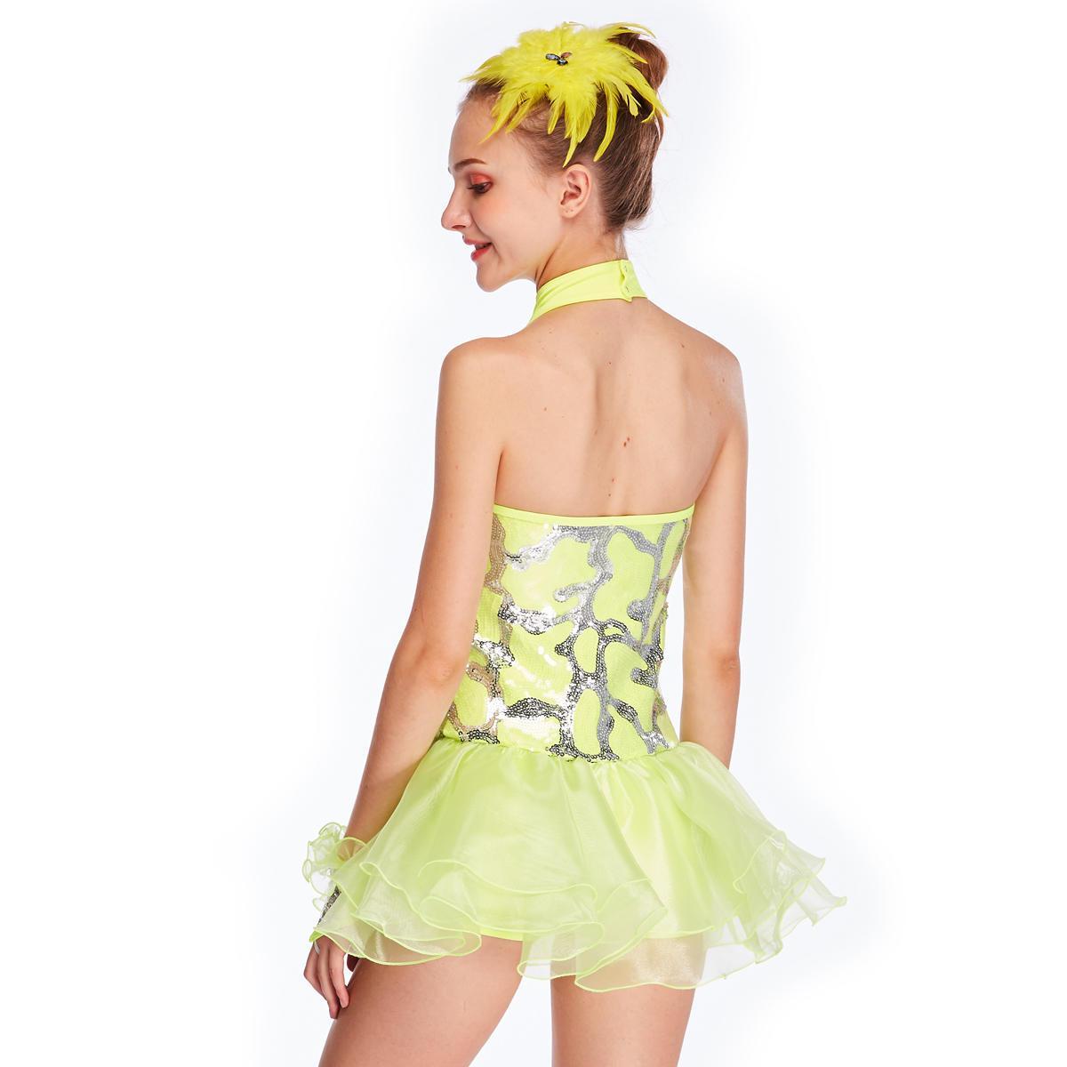 MiDee Sequin Yellow Jazz Dance Dress Dance Ballet Children Girl Costume