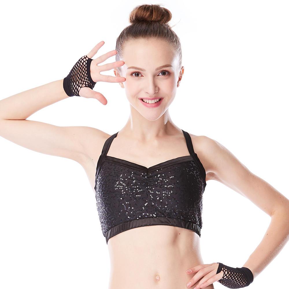 MiDee Sequins Crop Top Child Dance Leotard Adult Ballet Dress