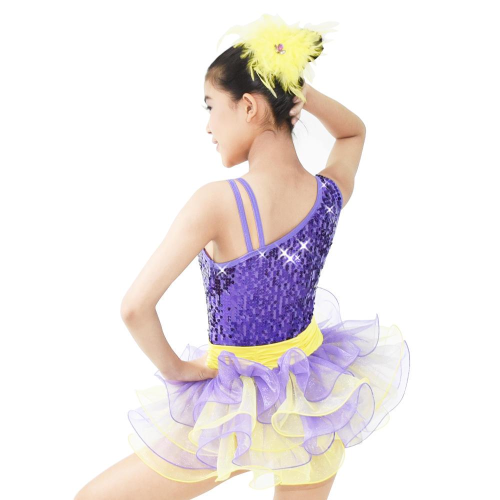 MiDee  Sequins Vest Girls Party Dresses Ballet Contemporary Dance Costume
