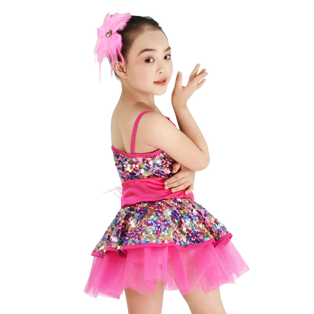 MiDee  Sequins Vest Girls Party Dresses Ballet Contemporary Dance Costume