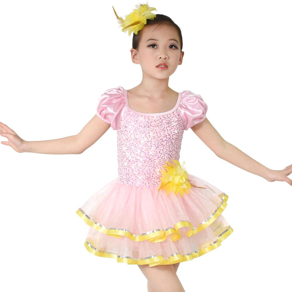New Wholesale Fashion Flower Girls Tutu Sequin Ballet Costume Dress Kids Modern Dance Costumes