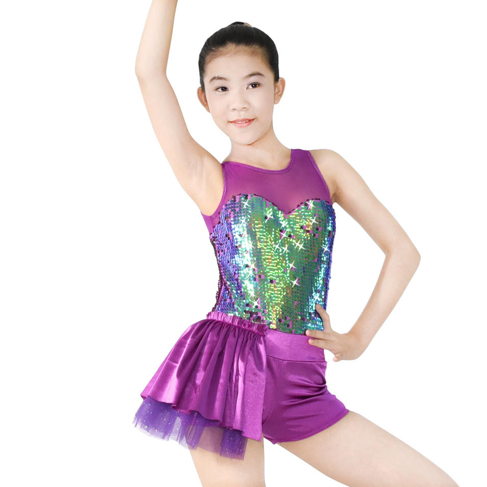 MiDee  Sequins Leotard Ballet Tutu Dance Skirt Jazz & Tap Dance Dress For Girls