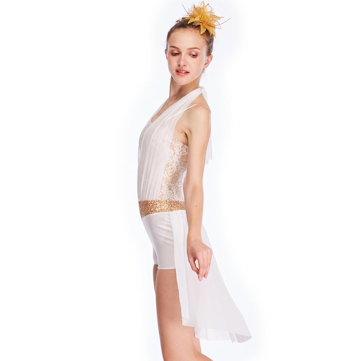 MiDee Half Skirt Halter Neck Lyrical Dance Dress Costume Jazz Latin Ice Skating Ballet Dance Costume