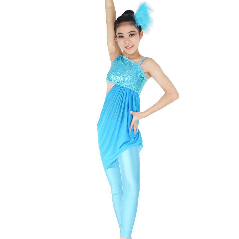 MiDee Elegant Tinsel Sequins Modern Ballet Jazz Dance Costume For Tight Pants Gymnastics Dress