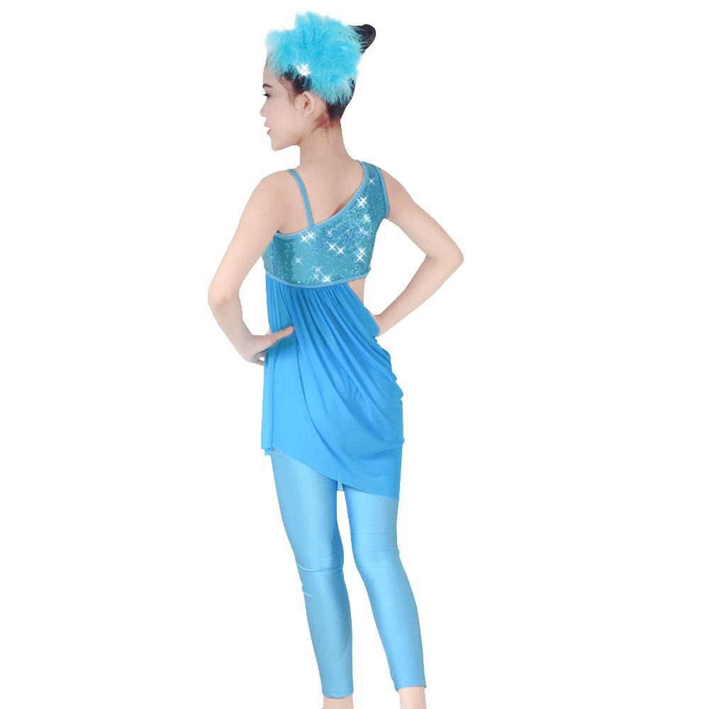 MiDee Elegant Tinsel Sequins Modern Ballet Jazz Dance Costume For Tight Pants Gymnastics Dress