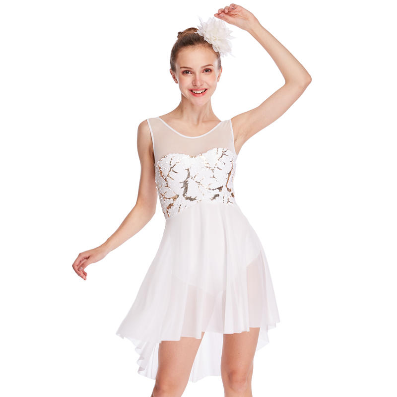 MiDee Lyrical Costume Dance Dresses High-Low Tank Mesh Joints Sequins Competition Performance Wear