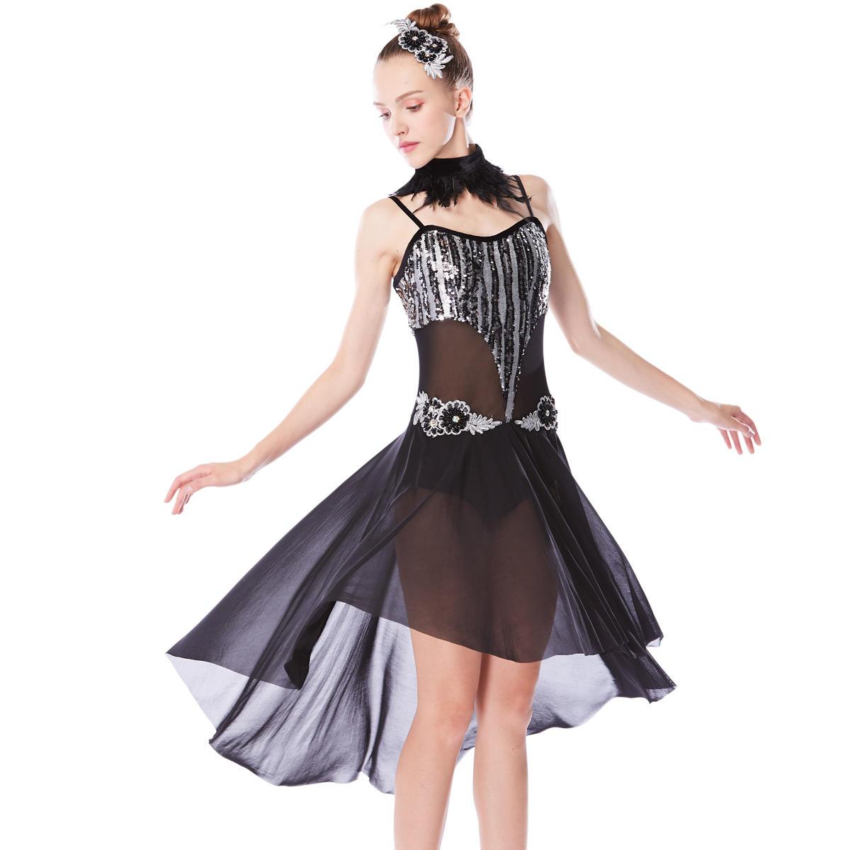 MiDee  Top Lyrical Dance Costume Dress Mesh Skirt Dress
