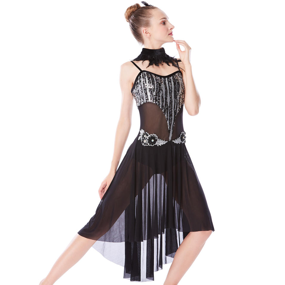 MiDee  Top Lyrical Dance Costume Dress Mesh Skirt Dress