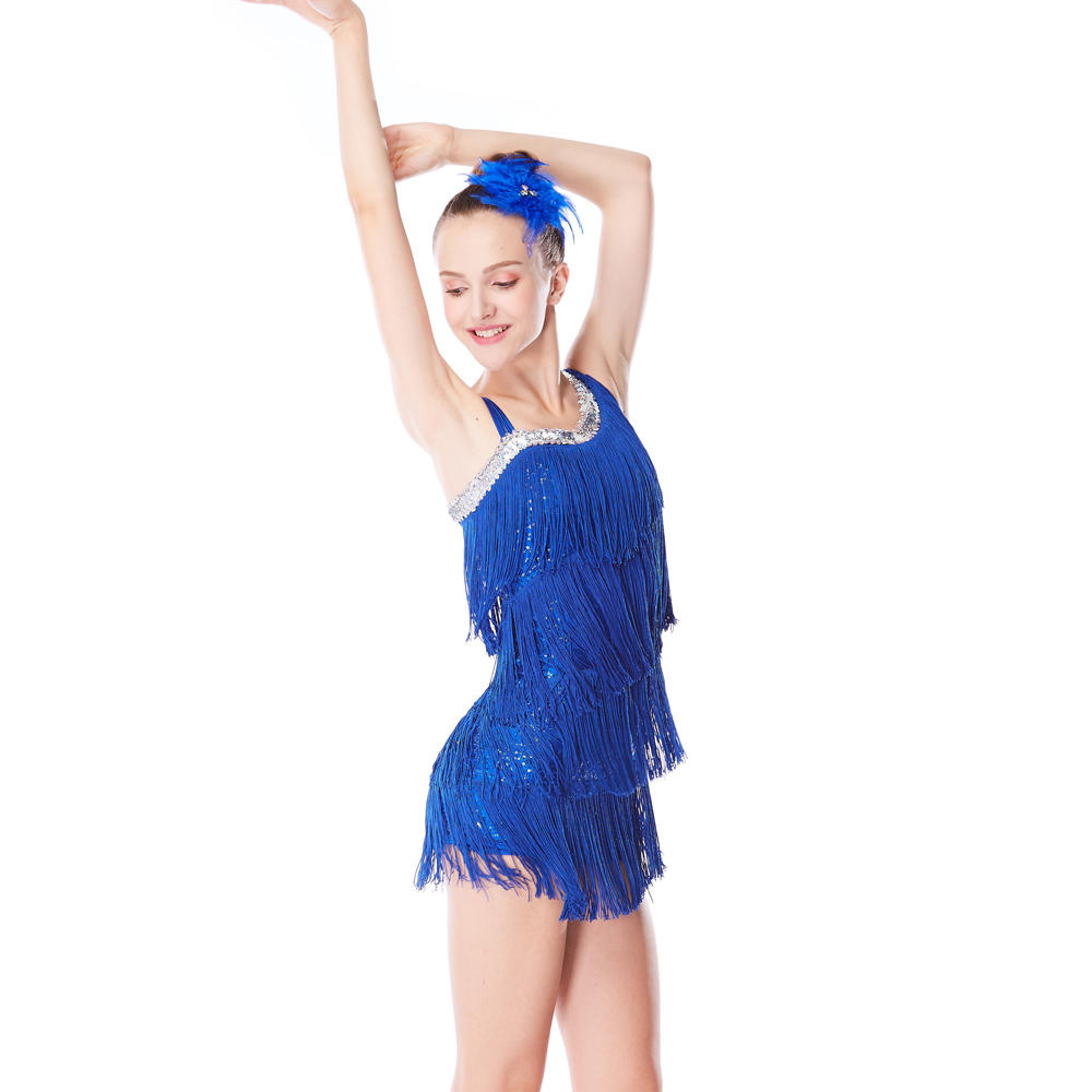 MiDee Ice Skating Dress Tassels Fringes Over Sequins Royal Blue Red Yellow Latin Tap Jazz Performance Costume