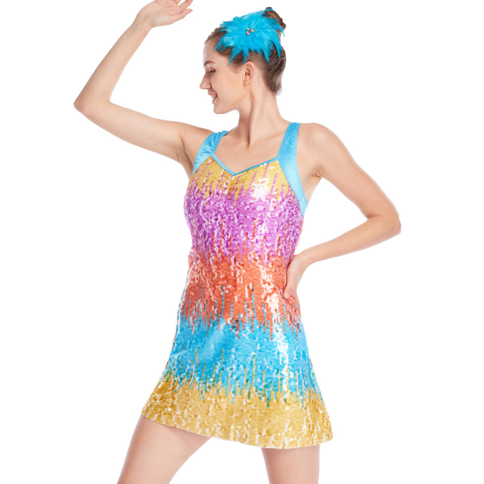 MiDee Full Sequins Ombre Dance Costumes A Line Dance Competition dance wear china  for Women