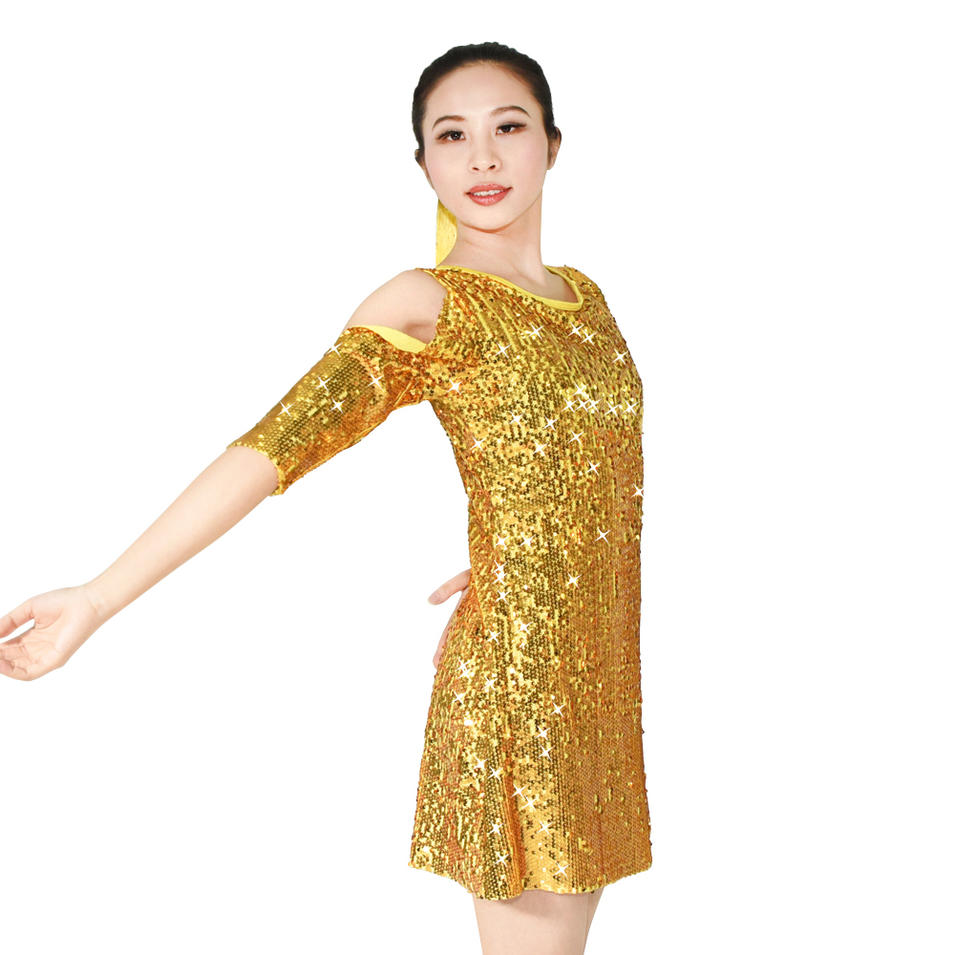 MiDee Full Sequin  Skirt Latin Dance Costume Dress For Women