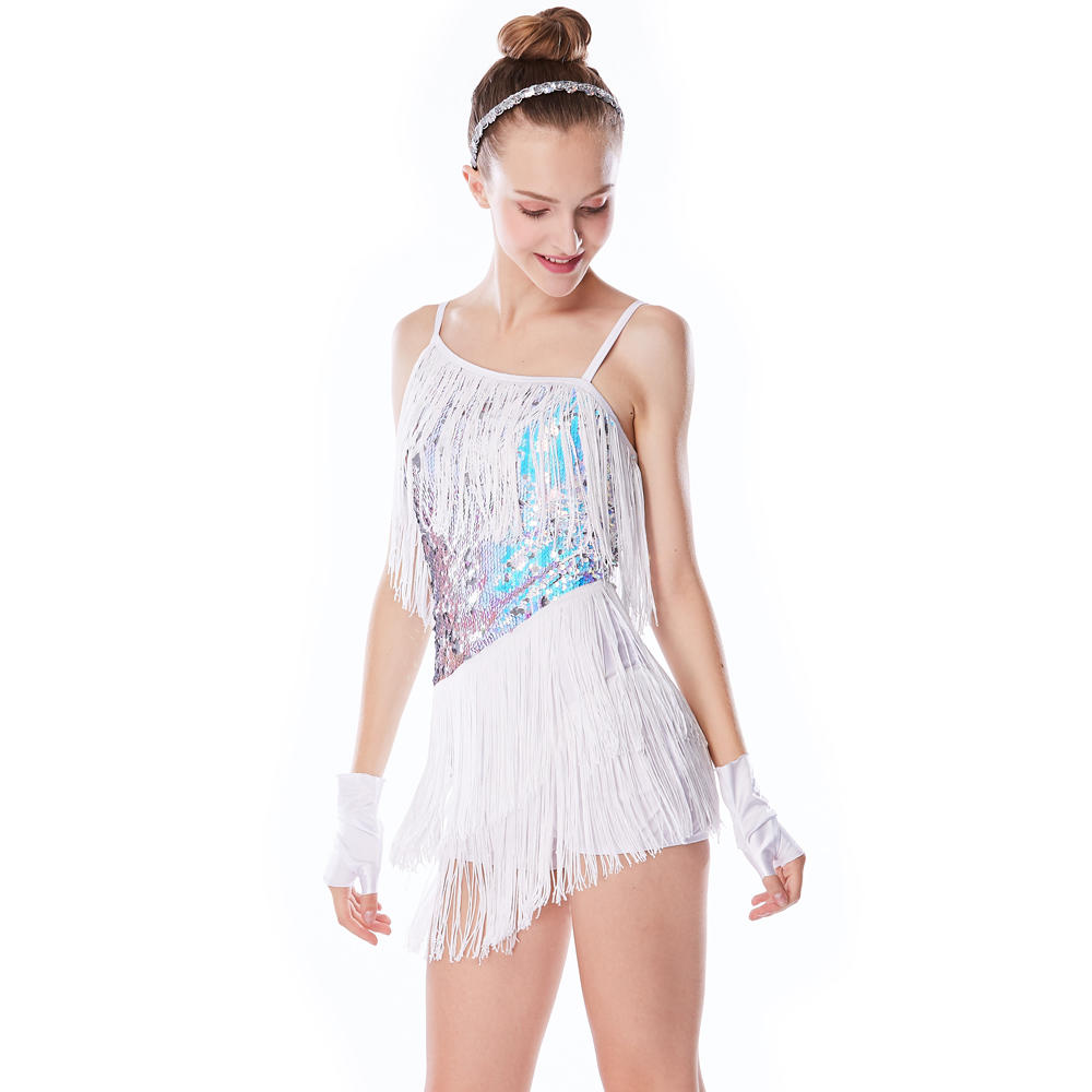MiDee 2017 Fashioned Sequins Fringe Tassel Costume Latin Dance Dress Women