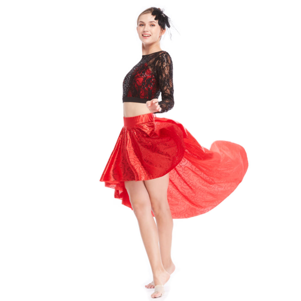 MiDee Contemporary  Sequin Midi Top With Skirt Dress Dance Costumes