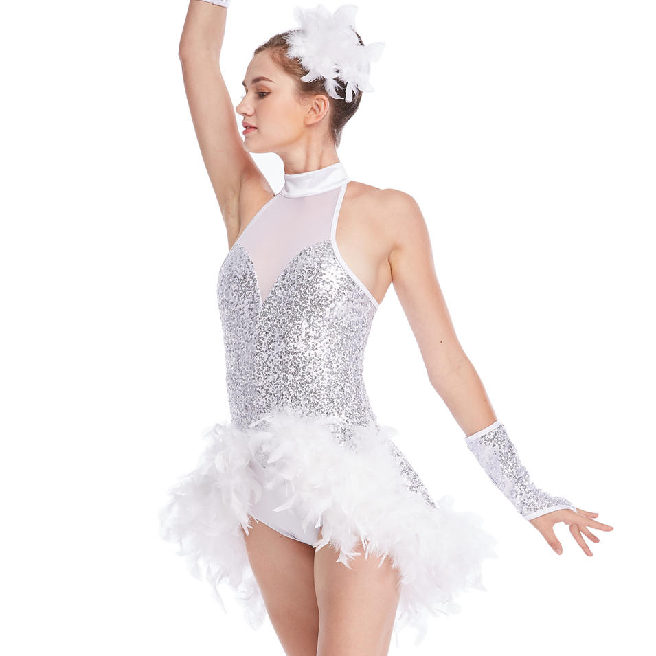 MiDee Heavy Feather Trimmed Jazz Latin Dance Costume Mock Neck Illusion Deep V-Neck Fully Sequined