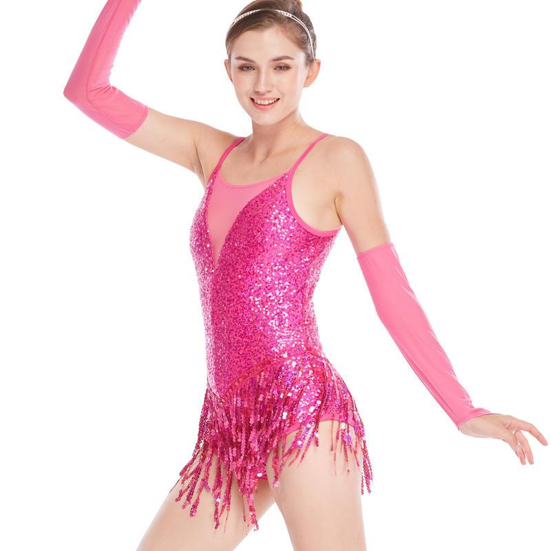 MiDee Tap Jazz Dance Costume Full Sequins Mesh Joints Deep-V Neck Rows Sequins Fringes Latin Dresses