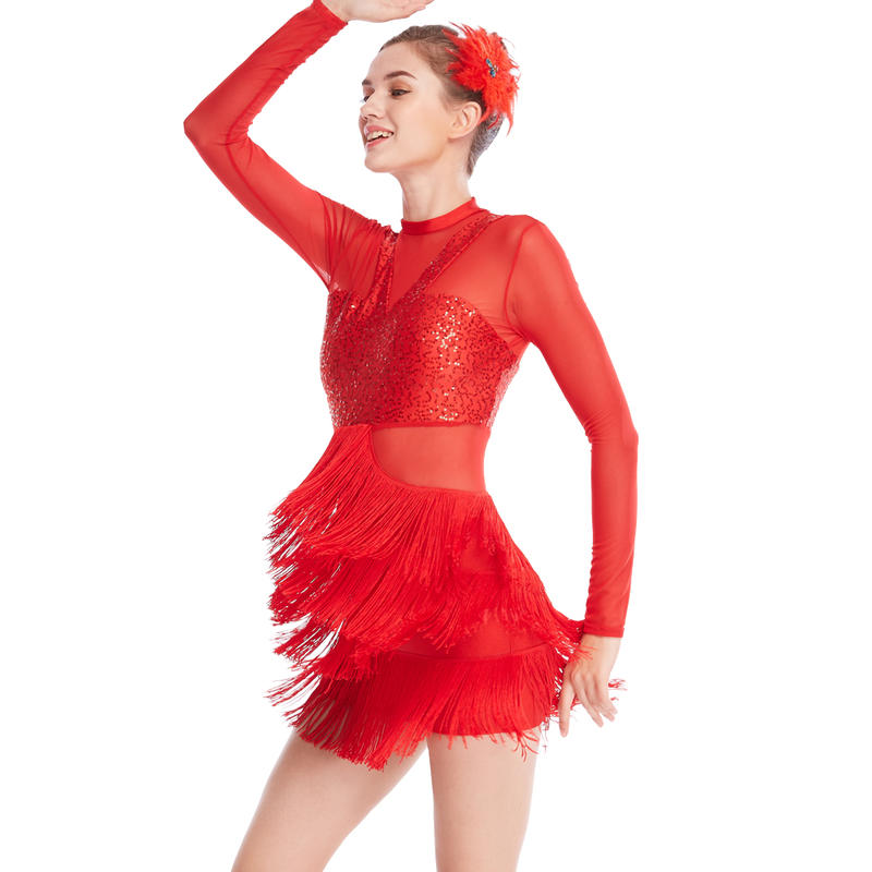 MiDee Long Sleeve Mock Neck Tap Fringes Sequins  Dance Costumes