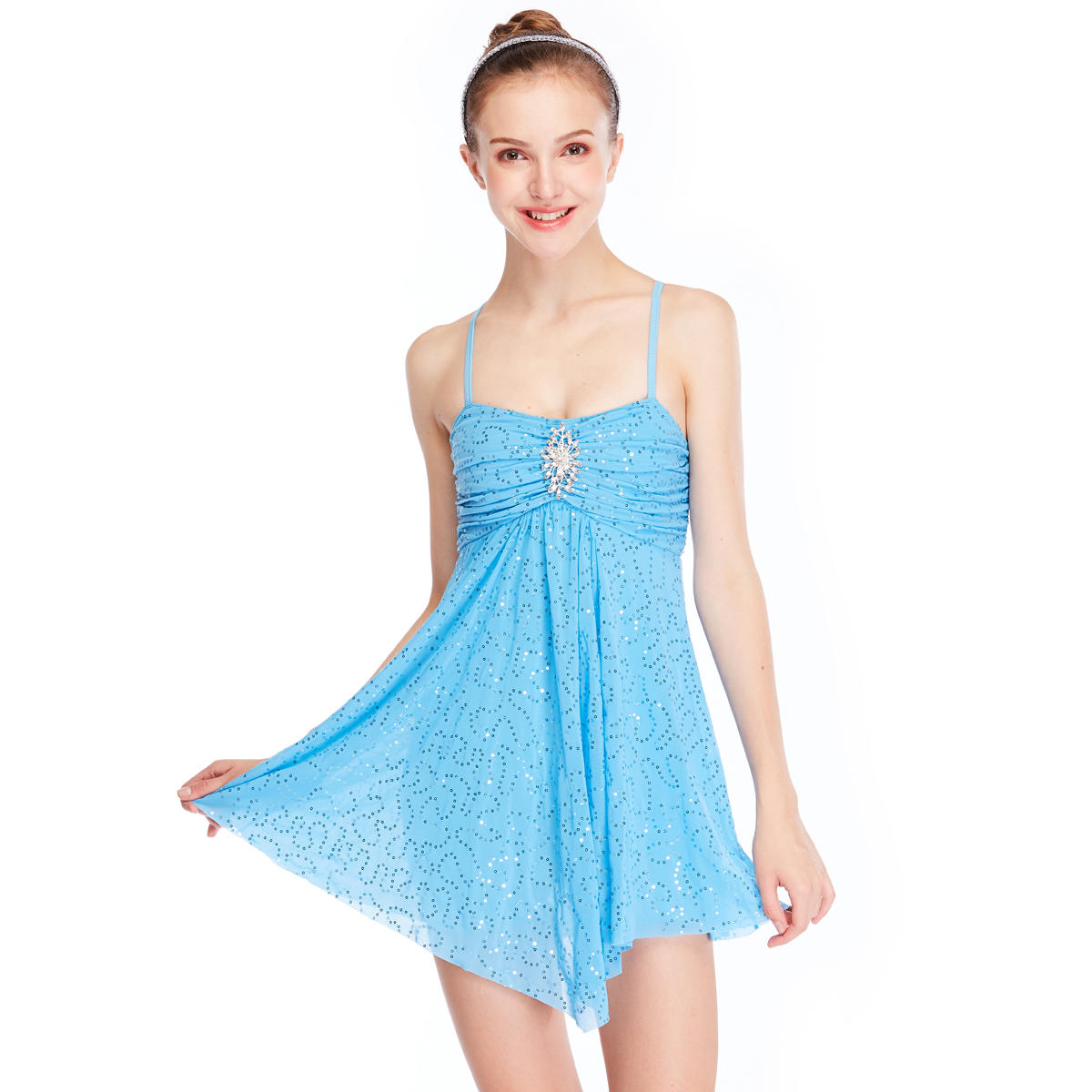 MiDee Luxury Elegant Girl Lyrical Dance Costume Skating Performance Dress