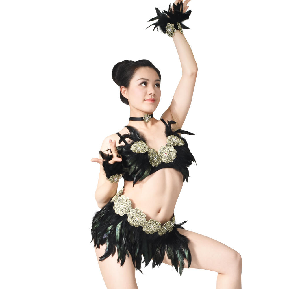 MiDee Nightclub Outfit Ballroom Performance Feather Rumba Belly Dance Costume Dress