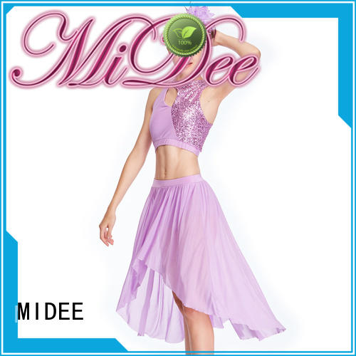 MIDEE vneck lyrical dance costumes for competition custom stage